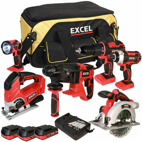 Excel 18V Cordless 6 Piece Tool Kit with 3 x 2.0Ah Batteries & Twin Port Charger EXL5656:18V