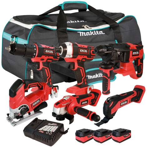 Excel 18V Cordless 6 Piece Tool Kit with 3 x 5.0Ah Batteries & Smart Charger in Bag EXL5226 :18V