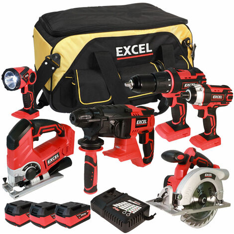 Excel 18V Cordless 6 Piece Tool Kit with 3 x 5.0Ah Batteries & Twin Port Charger EXL5657:18V