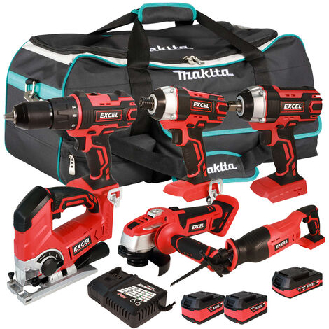 Excel 18V Cordless 6 Piece Tool Kit with 3 x Batteries & Smart Charger in Bag EXL5228 :18V