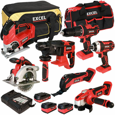 Excel 18V Cordless 7 Piece Tool Kit with 3 Batteries & Charger in Bag EXL5045:18V