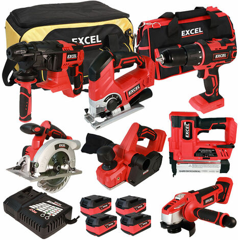 Excel 18V Cordless 7 Piece Tool Kit with 4 x 5.0Ah Batteries & Charger in Bag EXL7777:18V