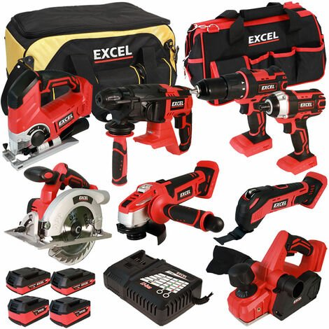 Excel 18V Cordless 8 Piece Tool Kit with 4 Batteries & Charger in Bag EXL5053:18V