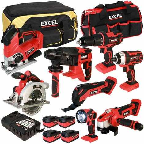 Excel 18V Cordless 8 Piece Tool Kit with 4 x 5.0Ah Batteries & Charger in Bag EXL5048:18V