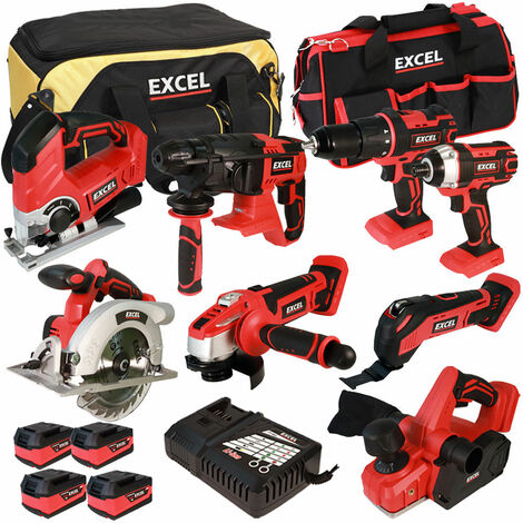 Excel 18V Cordless 8 Piece Tool Kit with 4 x 5.0Ah Batteries & Charger in Bag EXL5054:18V