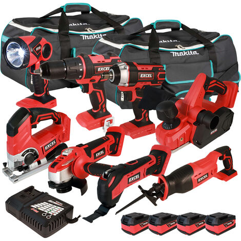 Excel 18V Cordless 8 Piece Tool Kit with 4 x 5.0Ah Batteries & Smart Charger in Bag EXL5223 :18V