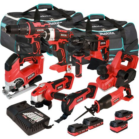 Excel 18V Cordless 8 Piece Tool Kit with 4 x Batteries & Smart Charger in Bag EXL5221 :18V