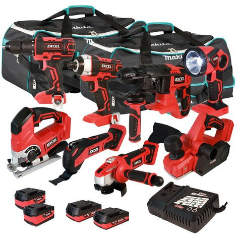 Excel 18V Cordless 8 Piece Tool Kit with 4 x Batteries & Smart Charger in Bag EXL5222 :18V