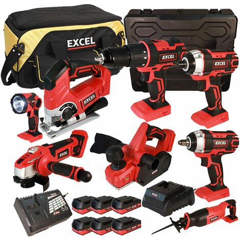Excel 18V Cordless 8 Piece Tool Kit with 6 x 2.0Ah Batteries & Charger EXL5186:18V
