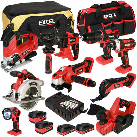 Excel 18V Cordless 9 Piece Tool Kit with 4 Batteries & Charger in Bag EXL5055:18V
