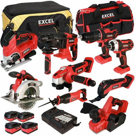 Excel 18V Cordless 9 Piece Tool Kit with 4 Batteries & Charger in Bag EXL5057:18V