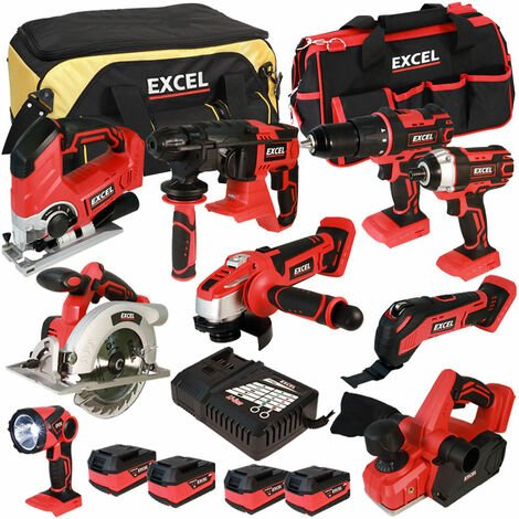 Excel 18V Cordless 9 Piece Tool Kit with 4 x 5.0Ah Batteries & Charger in Bag EXL5056:18V