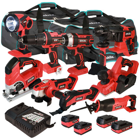 Excel 18V Cordless 9 Piece Tool Kit with 4 x Batteries & Smart Charger in Bag EXL5218 :18V