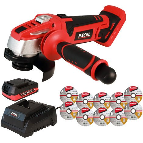 """main image of """"Excel 18V Cordless Angle Grinder 115mm with 1 x 2.0Ah Battery + Charger & Metal Cutting Discs:18V"""""""