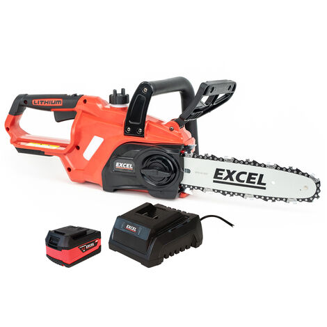 """main image of """"Excel 18V Cordless Chainsaw Wood Cutter 245mm with 1 x 5.0Ah Battery & Charger:18V"""""""