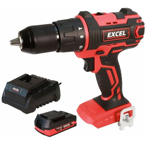 Excel 18V Cordless Combi Drill Driver with 1 x 2.0Ah Battery & Charger EXL558B:18V