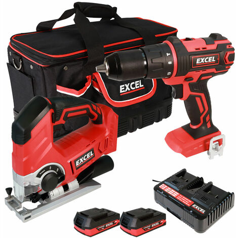 Excel 18V Cordless Combi Drill + Jigsaw with 2 x 2.0Ah Batteries & Charger in Bag EXL5049:18V