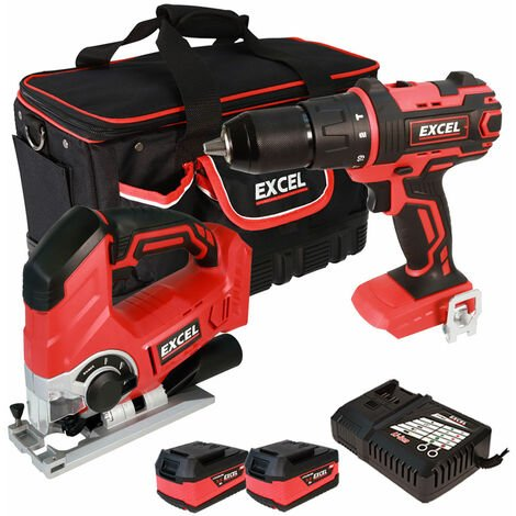 Excel 18V Cordless Combi Drill + Jigsaw with 2 x 5.0Ah Batteries & Smart Charger in Bag EXL5050:18V