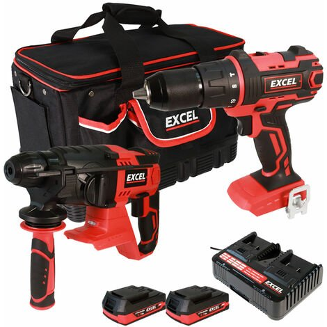 Excel 18V Cordless Combi Drill + SDS Drill with 2 x 2.0Ah Batteries & Charger in Bag EXL5051:18V