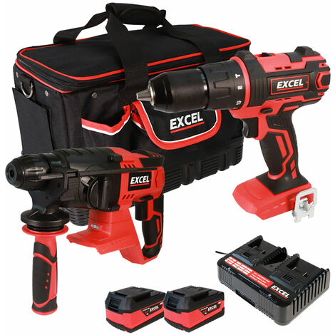 Excel 18V Cordless Combi Drill + SDS Drill with 2 x 5.0Ah Batteries & Charger in Bag EXL5052:18V