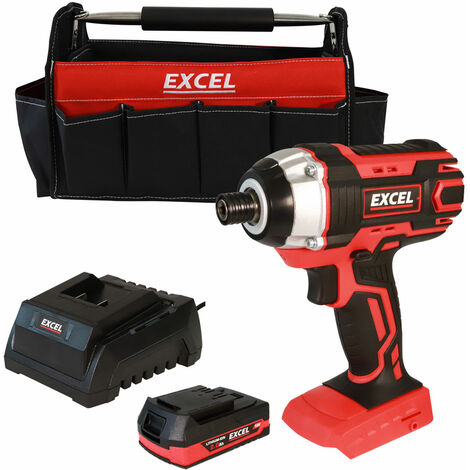 """main image of """"Excel 18V Cordless Impact Driver with 1 x 2.0Ah Battery Charger & Tote Bag EXL553B:18V"""""""
