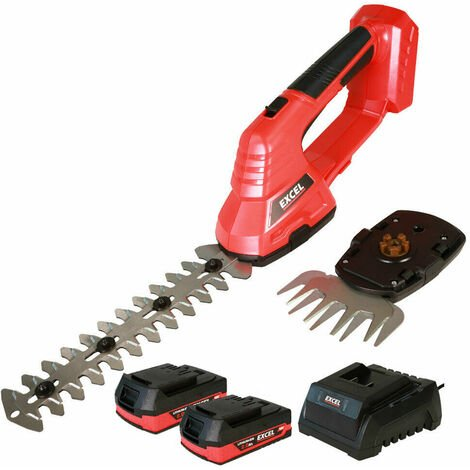 Excel 18V Hedge Trimmer & Grass Shear with 2 x 2.0Ah Batteries + Fast Charger EXL5236:18V