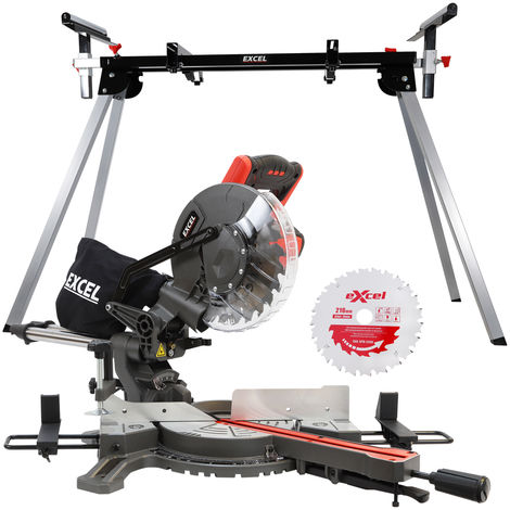 Excel 216mm Compound Mitre Saw 240V Sliding Single Bevel 1500W with Leg Stand & Blade
