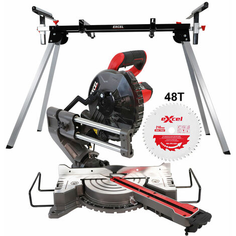 Excel 216mm Mitre Saw 240V Large Base Laser with Leg Stand Extra 1 x 48T Blade