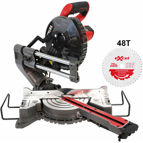 Excel 216mm Mitre Saw 240V Large Base with Laser 1500W Extra 1 x 48T Blade