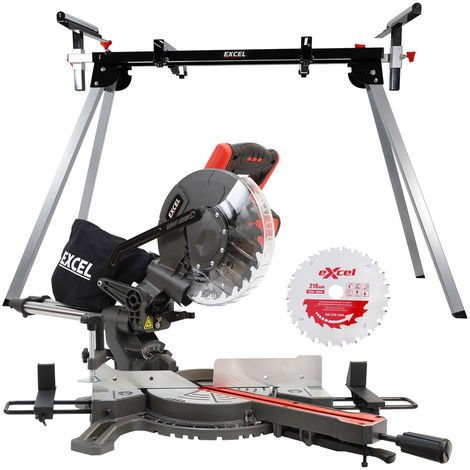 Excel 216mm Mitre Saw 240V Sliding Single Bevel 1500W with Leg Stand & Blade