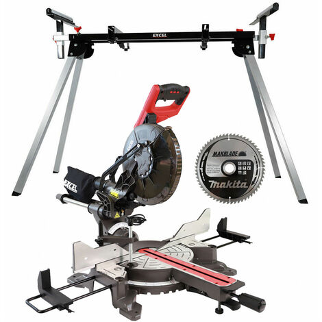 Excel 255mm Mitre Saw 240V Double Bevel Laser Cut with Leg Stand Extra 60T Blade