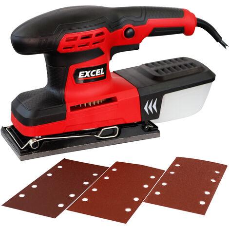 "Excel 260W Palm Sander 1/3"" Orbital Sheet Sanding with Dust Box & Sanding Sheets"