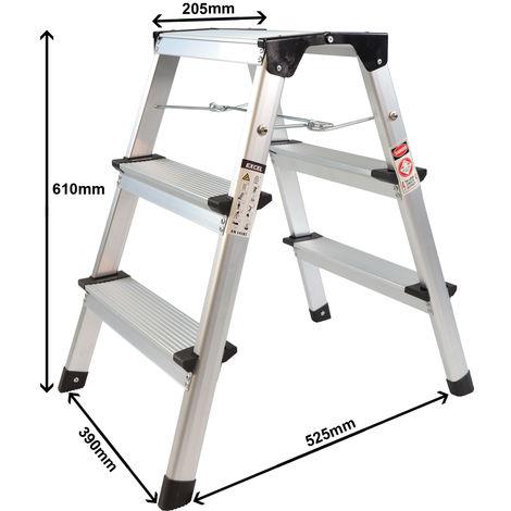 Excel 3 Step HopUp Stool Ladder Aluminium Platform Heavy Duty Folding