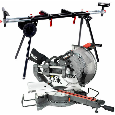 """main image of """"Excel 305mm Mitre Saw 240V Sliding Double Bevel 1800W with Universal Wheel Stand"""""""