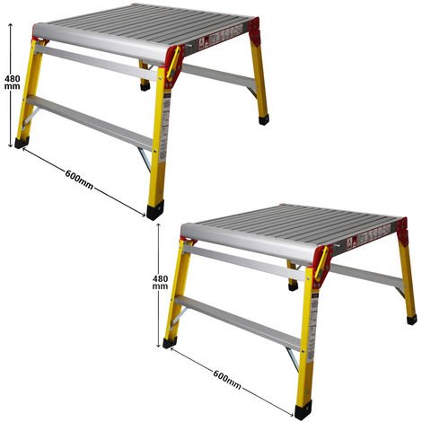Excel 600 x 600mm Fibreglass Heavy Duty Platform Folding Hop Up Pack of 2