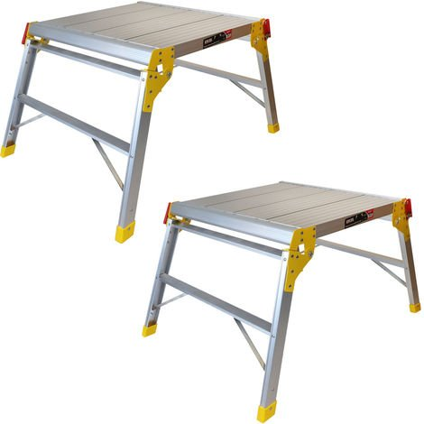 Excel 600 x 600mm Heavy Duty Multi Purpose Platform Work Bench Folding Hop Up Pack of 2