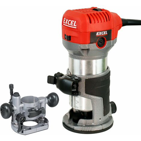 Excel 710W Electric Wood Hand Trimmer/Router 240V with Plunge Base Attachment:240V