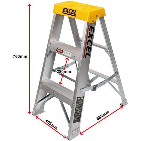 Excel Aluminium Step Ladder 3 Tread 0.76m Heavy Duty