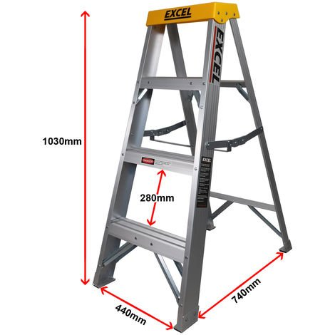 Excel Aluminium Step Ladder 4 Tread 1.03m Heavy Duty
