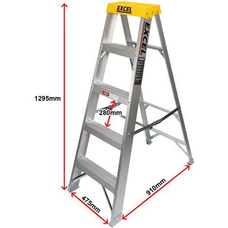 Excel Aluminium Step Ladder 5 Tread 1.3m Heavy Duty