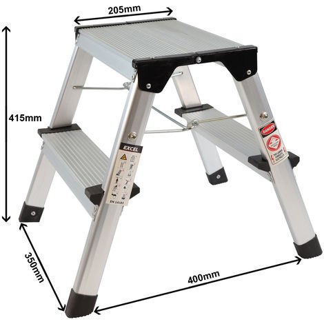 Excel Aluminium Stool Ladder 2 Tread Heavy Duty Folding Hop Up 350mm x 400mm
