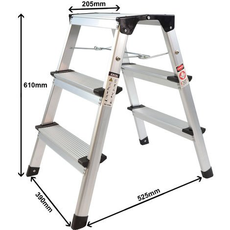 Excel Aluminium Stool Ladder 3 Tread Heavy Duty Folding Hop Up 390mm x 525mm