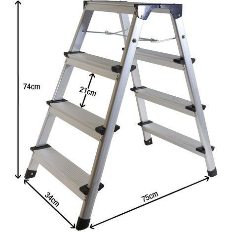 Excel Aluminium Stool Ladder 4 Tread Heavy Duty Folding Hop Up 340mm x 830mm