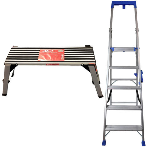 Excel Aluminium Work Bench Platform HopUp Stool & Step Ladder 5 Tread Pro Series