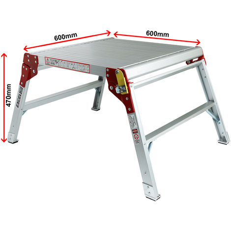 Excel Aluminium Workbench Platform Heavy Duty Folding Hop Up 600mm x 600mm
