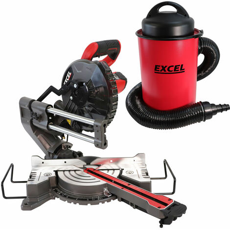 """main image of """"Excel Compound Mitre Saw Sliding Bevel Cut 216mm with 50L Dust Extractor Vacuum"""""""