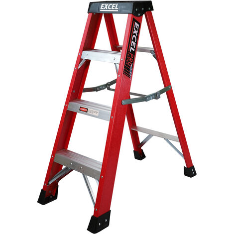 Excel Electrician Fibreglass Step Ladder 4 Tread 1.1m Heavy Duty Pro Series