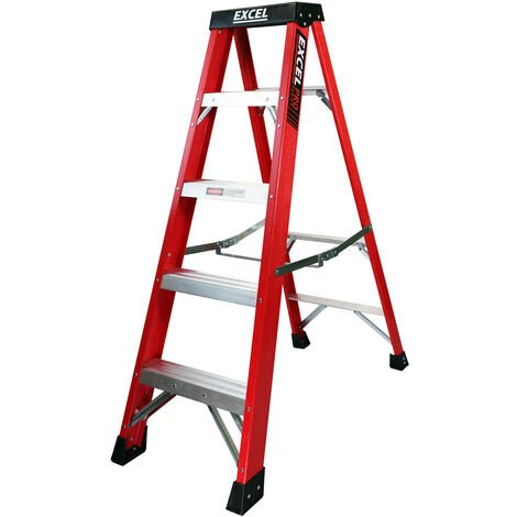 Excel Electrician Fibreglass Step Ladder 5 Tread 1.36m Heavy Duty Pro Series