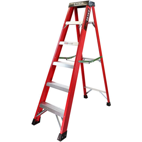 Excel Electrician Fibreglass Step Ladder 6 Tread 1.65m Heavy Duty Pro Series