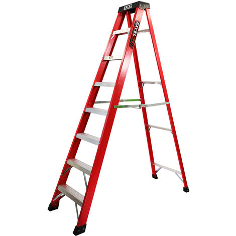 Excel Electrician Fibreglass Step Ladder 8 Tread 2.2m Heavy Duty Pro Series